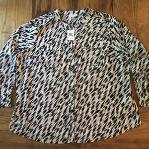 NWT Calvin Klein Womens Size 3X Button Down Blouse